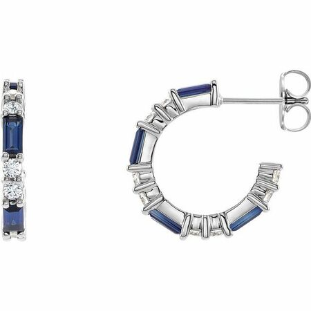 Genuine Created Sapphire Earrings in Platinum Chatham Created Genuine Sapphire & 1/2 Carat Diamond Earrings