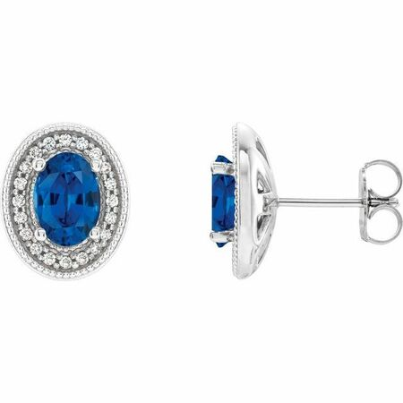 Genuine Chatham Created Sapphire Earrings in Platinum Chatham Created Genuine Sapphire & 1/5 Carat Diamond Halo-Style Earrings