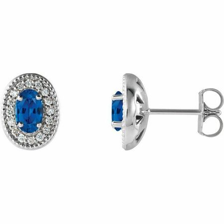 Genuine Chatham Created Sapphire Earrings in Platinum Chatham Created Genuine Sapphire & 1/8 Carat Diamond Halo-Style Earrings
