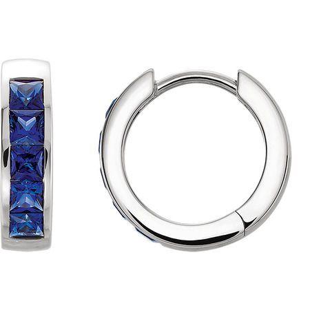 Platinum Genuine Chatham Blue Sapphire Hoop Earrings