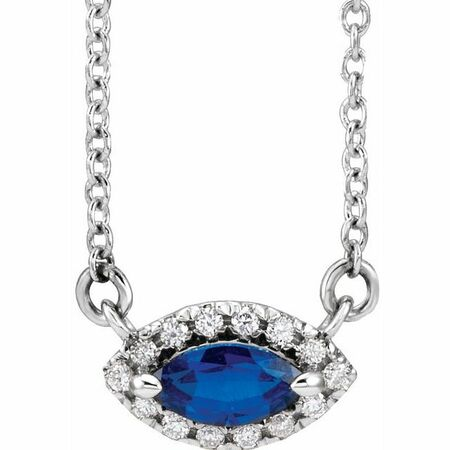 Chatham Created Sapphire Necklace in Platinum Chatham Lab-Created  Sapphire & .05 Carat Diamond Halo-Style 16