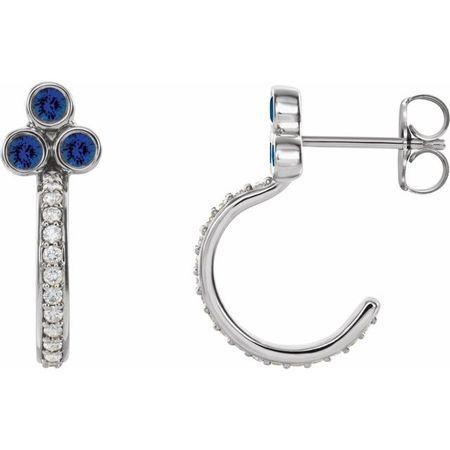 Genuine Chatham Created Sapphire Earrings in Platinum Chatham Lab-Created Genuine Sapphire & 1/4 Carat Diamond J-Hoop Earrings