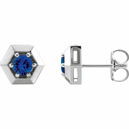 Genuine Chatham Created Sapphire Earrings in Platinum Chatham Lab-Created Genuine Sapphire Geometric Earrings