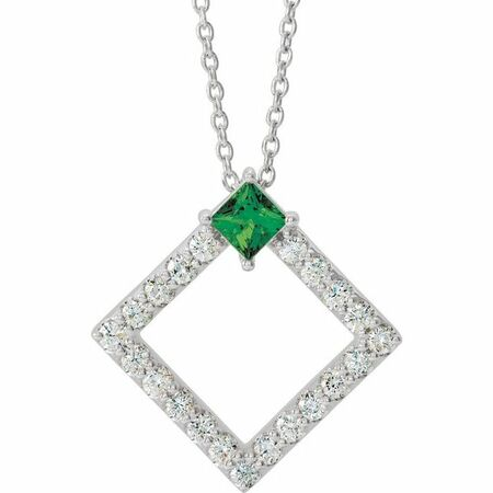 Genuine Chatham Created Emerald Necklace in Platinum Chatham Lab-Created Emerald & 3/8 Carat Diamond 16-18