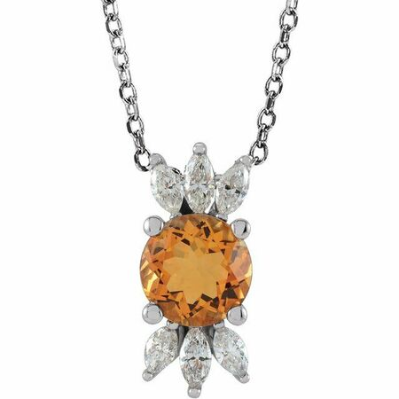 Golden Citrine Necklace in Platinum Citrine & 1/4 Carat Diamond 16-18