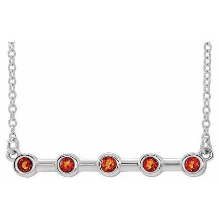 Golden Citrine Necklace in Platinum Citrine Bezel-Set Bar 18