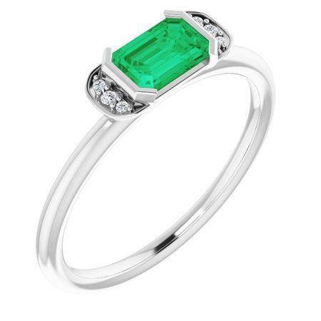 Emerald Ring in Platinum Emerald & .02 Carat Diamond Stackable Ring