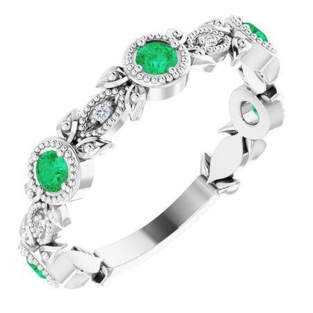 Emerald Ring in Platinum Emerald & .03 Carat Diamond Leaf Ring