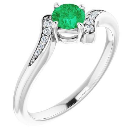 Emerald Ring in Platinum Emerald & .04 Carat Diamond Ring