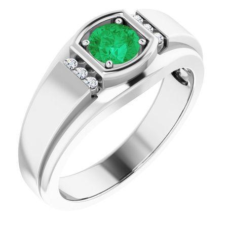 Emerald Ring in Platinum Emerald & .08 Carat Diamond Men's Ring