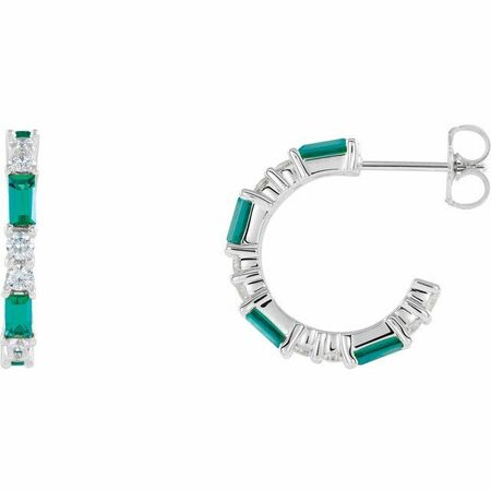 Genuine Emerald Earrings in Platinum Emerald & 1/2 Carat Diamond Earrings