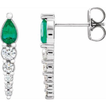 Genuine Emerald Earrings in Platinum Emerald & 1/4 Carat Diamond Earrings