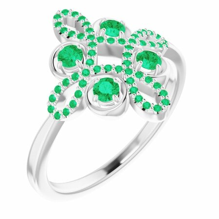 Emerald Ring in Platinum Emerald & 1/6 Carat Diamond Clover Ring