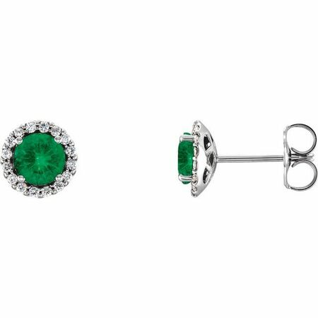 Genuine Emerald Earrings in Platinum Emerald & 1/8 Carat Diamond Earrings