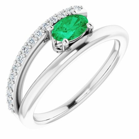 Emerald Ring in Platinum Emerald & 1/8 Carat Diamond Ring