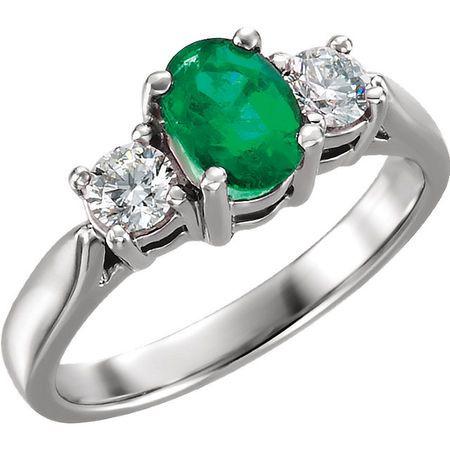 Platinum Emerald & 0.40 Carat Diamond Ring