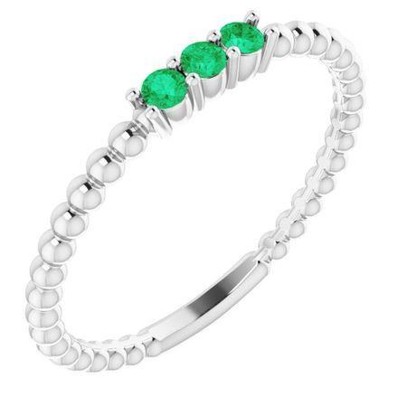 Emerald Ring in Platinum Emerald Beaded Ring