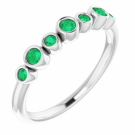 Emerald Ring in Platinum Emerald Bezel-Set Ring