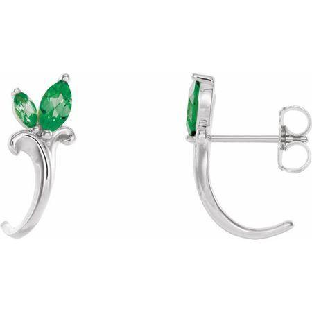 Genuine Emerald Earrings in Platinum Emerald Floral-Inspired J-Hoop Earrings
