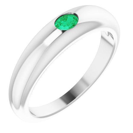 Emerald Ring in Platinum Emerald Petite Dome Ring