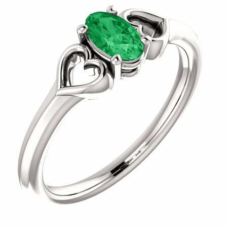 Buy Platinum Emerald Youth Heart Ring