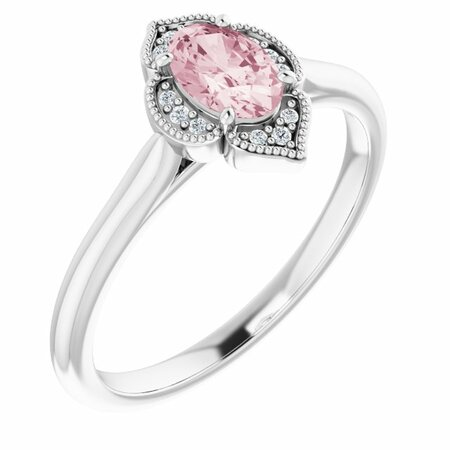Pink Morganite Ring in Platinum Morganite & .03 Carat Diamond Ring