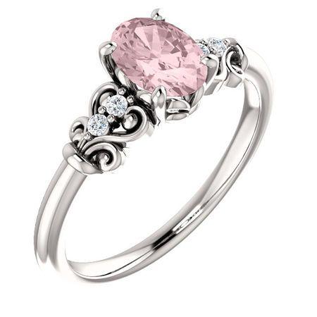 Platinum Morganite & .04 Carat Diamond Ring