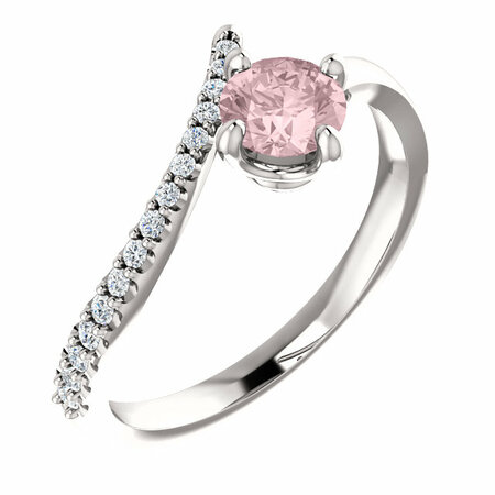 Platinum Morganite & 0.10 Carat Diamond Bypass Ring