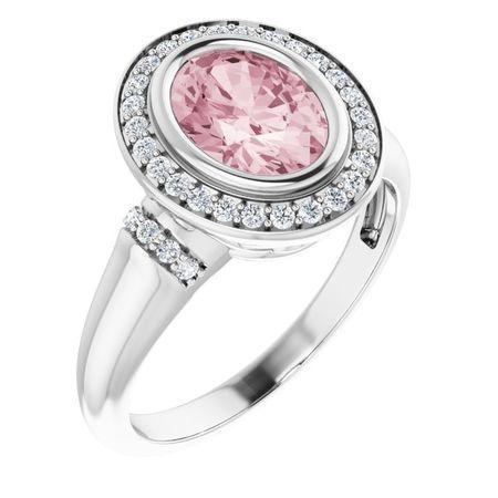 Pink Morganite Ring in Platinum Morganite & 1/5 Carat Diamond Ring