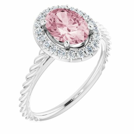 Pink Morganite Ring in Platinum Morganite & 1/6 Carat Diamond Ring