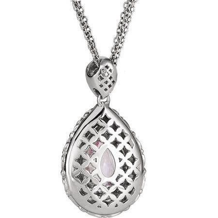 Platinum Morganite & 5/8 CTW Diamond Pendant