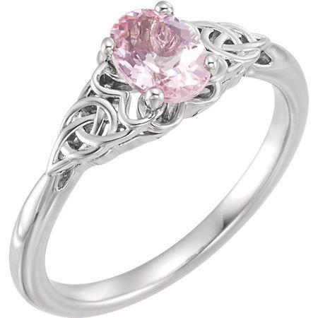 Platinum Morganite Celtic-Inspired Ring