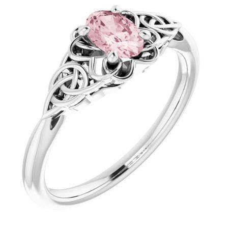 Pink Morganite Ring in Platinum Morganite Celtic-Inspired Ring