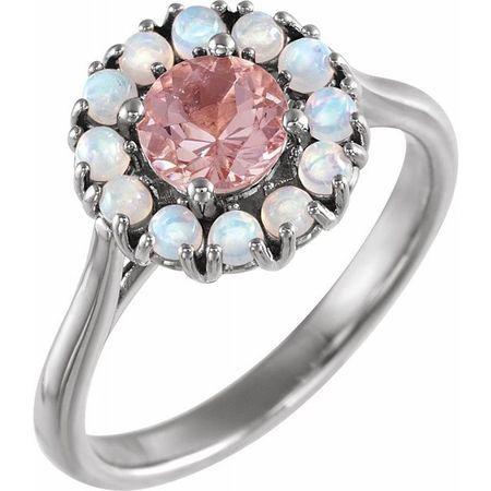 Pink Morganite Ring in Platinum Morganite & Ethiopian Opal Halo-Style Ring