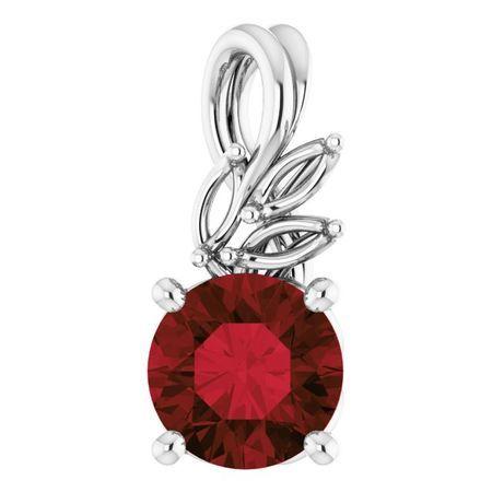 Red Garnet Pendant in Platinum Mozambique Garnet & 1/10 Carat Diamond Pendant
