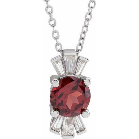 Red Garnet Necklace in Platinum Mozambique Garnet & 1/6 Carat Diamond 16-18