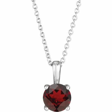 Red Garnet Necklace in Platinum Mozambique Garnet 16-18