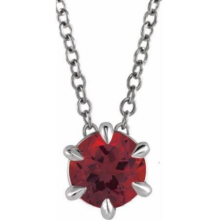 Red Garnet Necklace in Platinum Mozambique Garnet Solitaire 16-18