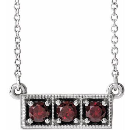Red Garnet Necklace in Platinum Mozambique Garnet Three-Stone Granulated Bar 16-18