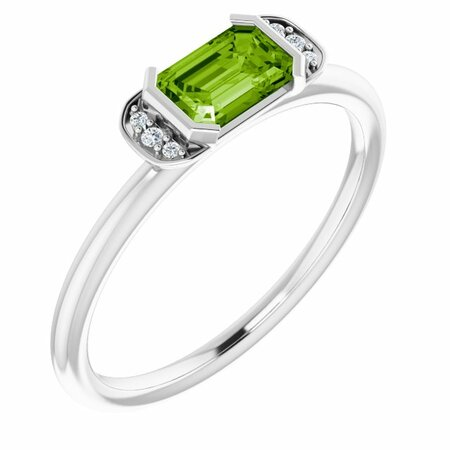 Peridot Ring in Platinum Peridot & .02 Carat Diamond Stackable Ring