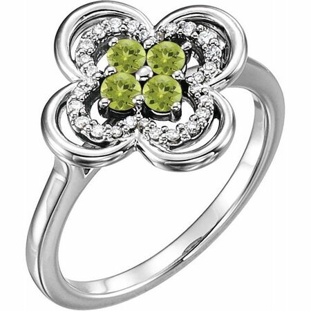 Peridot Ring in Platinum Peridot & 1/10 Carat Diamond Ring