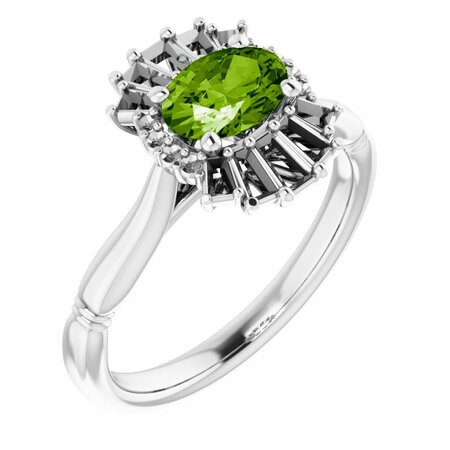 Peridot Ring in Platinum Peridot & 1/4 Carat Diamond Ring