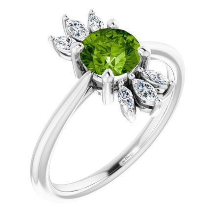 Peridot Ring in Platinum Peridot & 1/4 Carat Diamond Ring