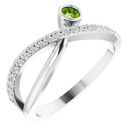 Peridot Ring in Platinum Peridot & 1/5 Carat Diamond Ring