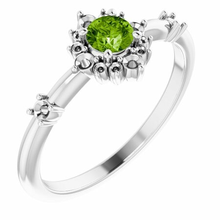 Peridot Ring in Platinum Peridot & 1/6 Carat Diamond Ring