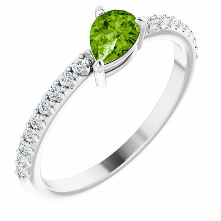 Peridot Ring in Platinum Peridot & 1/6 Carat Diamond Stackable Ring
