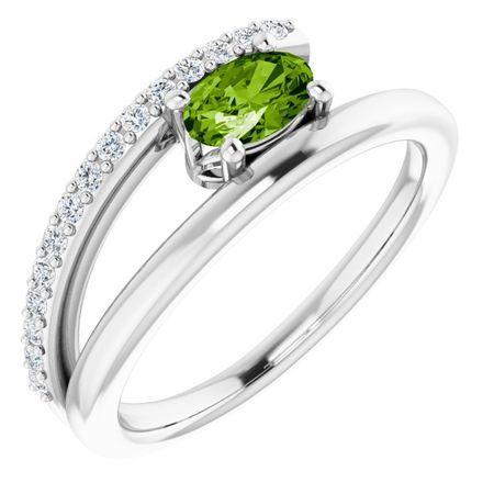 Peridot Ring in Platinum Peridot & 1/8 Carat Diamond Ring