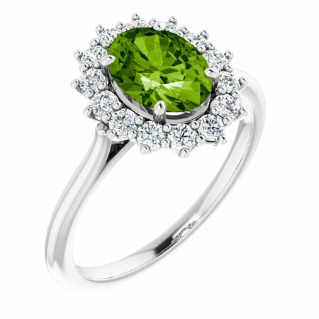 Peridot Ring in Platinum Peridot & 3/8 Carat Diamond Ring