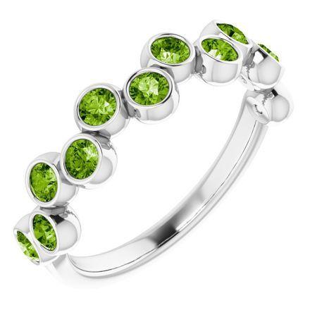 Peridot Ring in Platinum Peridot Bezel-Set Ring