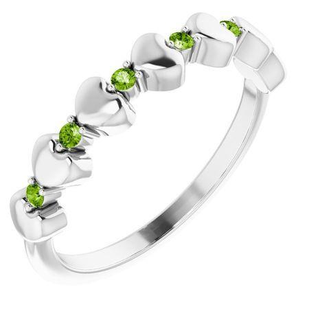 Peridot Ring in Platinum Peridot Stackable Heart Ring